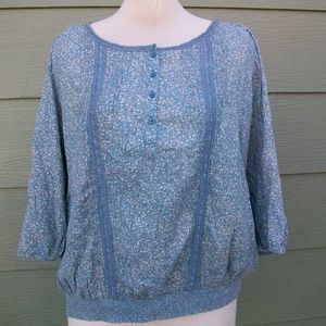 Ruff Hewn  Tunic Plus Sz 3X Blue Floral Blouse